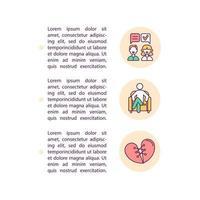 lidar com ícones de linha de conceito de estresse familiar com texto vetor