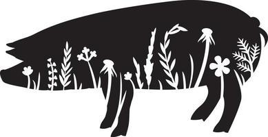 ícone de porco floral vetor