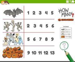contando atividades educacionais com personagens de desenhos animados de halloween vetor