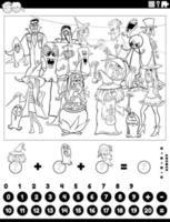 conte e adicione tarefas com a página do livro de cores dos personagens de halloween vetor