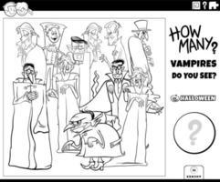 contando a página do livro para colorir do jogo dos vampiros dos desenhos animados vetor