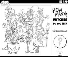 contando a página do livro para colorir do jogo das bruxas dos desenhos animados vetor