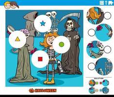 jogo de combinar peças para crianças com personagens de halloween vetor