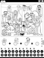 conte e adicione o jogo com a página do livro de cores dos personagens de halloween vetor