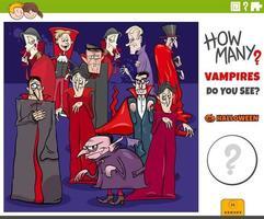 jogo educacional de quantos vampiros de desenho animado para crianças vetor