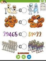 maior, menor ou igual tarefa de desenho animado com personagens de halloween vetor