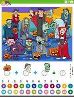 contando e adicionando jogos com personagens de desenhos animados de Halloween vetor