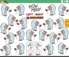 contando fotos à esquerda e à direita de um cientista malvado de desenho animado vetor