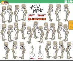 contando fotos esquerda e direita de múmia de desenho animado vetor