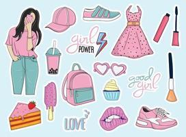 coleção colorida de adesivos de elementos femininos da moda desenhados à mão vetor