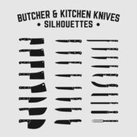 conjunto de cozinha açougueiro chef facas de pão faca cutelo silhueta vetor