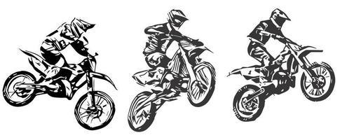 vetor de silhueta de salto de motocross isolado no fundo branco.