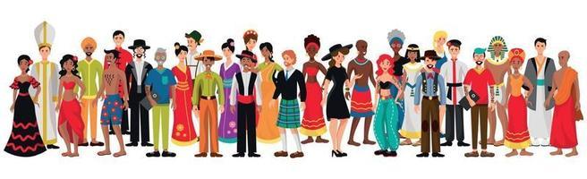 pessoas de diferentes nacionalidades em um fundo branco - vetor