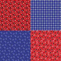 padrões de bandana paisley azuis e vermelhos