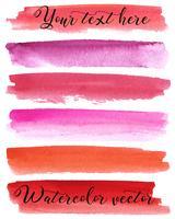 Conjunto de fundos em aquarela. Textura de aquarela com pinceladas. Borgonha, vermelho, rosa, laranja, roxo. Abstração. Isolado. Vetor. vetor