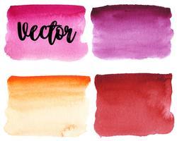 Conjunto de mancha de aquarela. Pontos em um fundo branco. Textura de aquarela com pinceladas. Borgonha, rosa, laranja, vermelho. Isolado. Vetor.