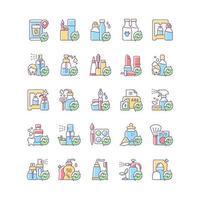 opções de recarga conjunto de ícones de cores rgb vetor