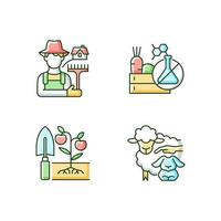 work on farm rgb color icons set vetor
