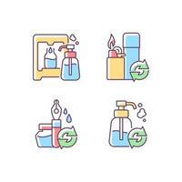produtos refil conjunto de ícones de cores rgb vetor
