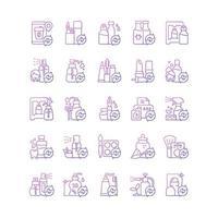conjunto de ícones de vetor linear de opções de recarga