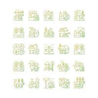 conjunto de ícones de vetor linear gradiente relacionado à agricultura
