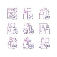 produtos recarregáveis conjunto de ícones de vetor linear gradiente