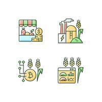 conjunto de ícones de cores rgb de inovações agrícolas vetor