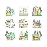 conjunto de ícones de cores rgb para negócios agrícolas vetor