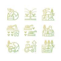Conjunto de ícones de vetor linear gradiente de negócios agrícolas