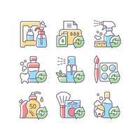 produtos reutilizáveis conjunto de ícones de cores rgb vetor