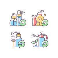 conjunto de ícones de cores de opções de recarga de produtos vetor
