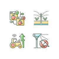 conjunto de ícones de cores rgb sistemas automatizados na agricultura vetor