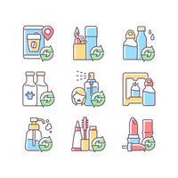 produtos recarregáveis conjunto de ícones de cores rgb vetor