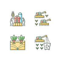 agricultura e agricultura conjunto de ícones de cores rgb vetor