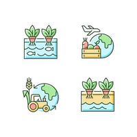 conjunto de ícones de cores rgb de agricultura ambiental vetor