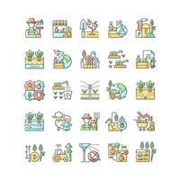 conjunto de ícones de cores rgb relacionados à agricultura vetor