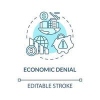 ícone de conceito azul de negação econômica vetor