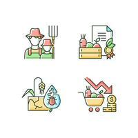 Conjunto de ícones de cores rgb do agronegócio vetor