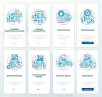 conjunto de tela de página de aplicativo móvel de negação da mudança climática vetor