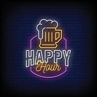 vetor de texto estilo sinais de néon happy hour