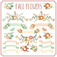 Elementos florais de outono vetor