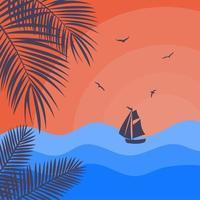 pôr do sol do mar com a silhueta do barco e ramos de palmeiras. vetor