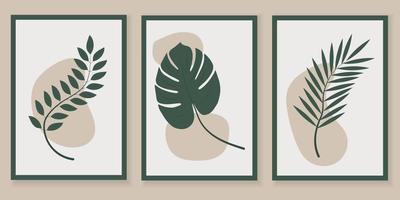 conjunto de vetores de arte de parede botânica. folhagem linha arte desenho com forma.