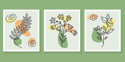 cartazes de arte de parede botânica. projeto abstrato da arte da planta vetor