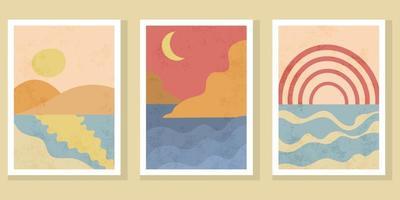 cartazes de paisagem boho contemporânea abstrata. vetor