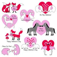 ilustrações de animal valentine
