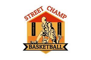desenho retrô da silhueta do campeão de rua do basquete vetor