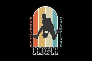 design retro da silhueta dos campeões de estilo livre alto vetor