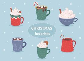 coleção de bebidas quentes de Natal. bebidas quentes de inverno, chocolate quente vetor