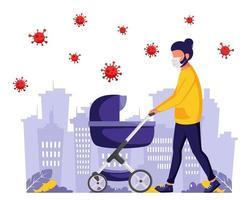 homem andando com um carrinho de bebê durante a pandemia. homem na máscara facial. vetor